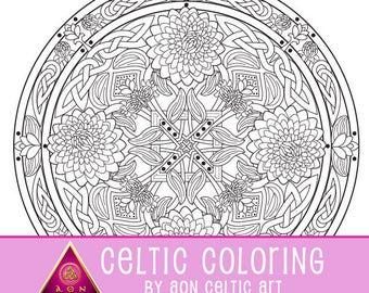Celtic Dahlia Flower Mandala - coloring page