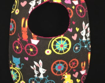 Bunnies on Bicycles Flannel / Terry Cloth Bib