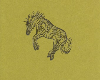 Faux Bois Pony Clear Polymer Rubber Stamp made from a hand carved stamp