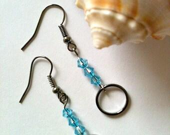 Light Blue Swarovski Crystal and Silver Ring Earrings Handmade, Gift for Her, Gift In Handmade