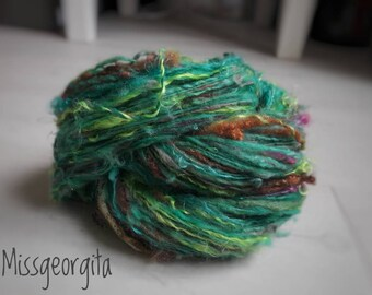 Yarn skein - Handspun yarn - Textured fibers - Jane (or the lace in the jungle) - 120 m for 55 g