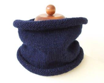 navy blue cowl, knit neckwarmer, sparkle cowl with metallic thread