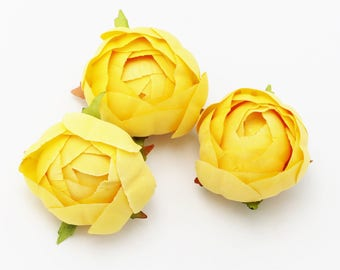 THREE Yellow Ranunculus   Flower Crown   Millinery Flowers   Scrapbook Flowers   Wired Flowers   Artificial Ranunculus   The Blue Hutch