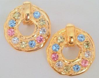 Vintage Pastel Rhinestone Earrings