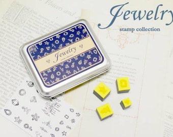 Jewerly Stamp Set -- Rubber Stamp in Tin Box -- Korean Stamps -- Diary Stamps