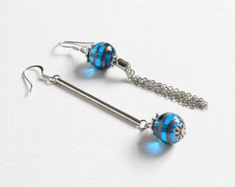Dangle Lampwork Ball Uneven Earrings