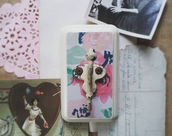 Pink Floral Wall Hook, Cottage Chic Wall Hanger, Jewelry Organizer, Chippy White Coat Hook, Key Hook, Rustic Cottage Decor