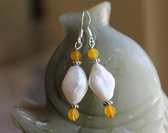Freshwater Pearl with Yellow Agate Earrings, sterling silver hook