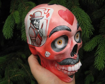 Handmade - Handpainted - Airbrushed - Mexican - Moustaches - Day of the Dead - Calavera - Painted Skull - Sugar Skull - MADE TO ORDER