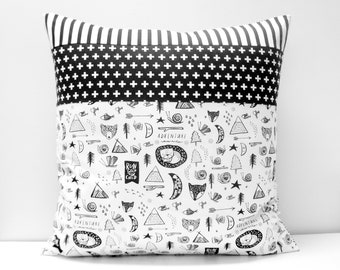 Pillow Cover - Patchwork Pillow Cover, 20x20, black and white, monochrome, geometric, cross print, stripes, adventure, wild one