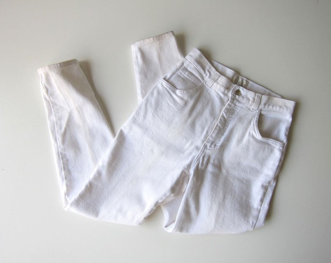 80s WHITE Jeans High Waist Preppy White Cotton Denim Pants Tapered Leg Vintage Minimal Mom Jeans Hipster Jeans Womens Small 8
