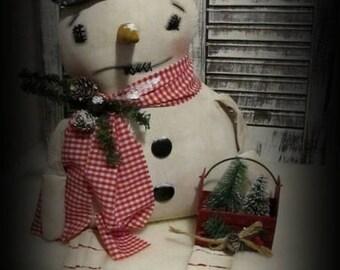 Primitive Snowman Doll~Bucket of Christmas Trees~Folk Art Snowman~Christmas