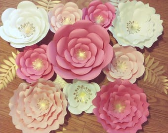 Paper Flowers, Nursery Decor, Pink Paper Flowers Backdrop