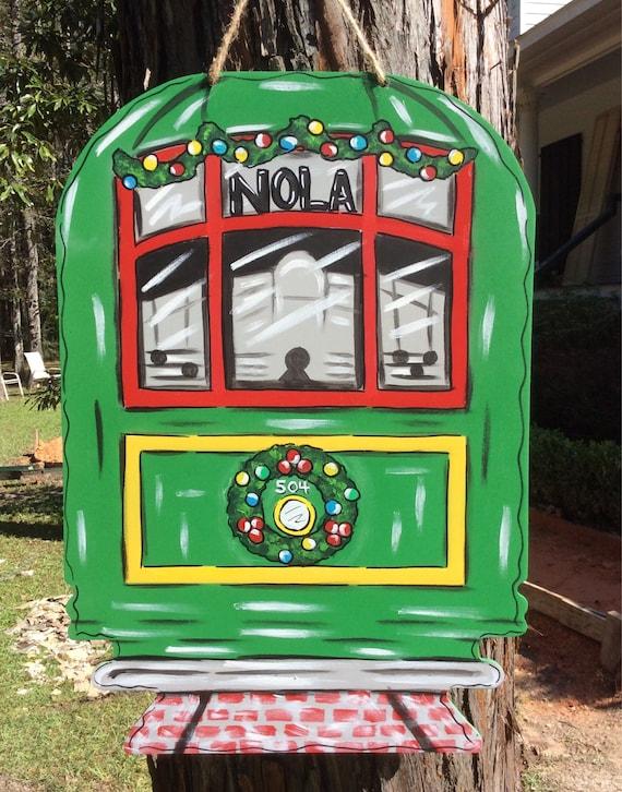 Christmas Door Hanger Streetcar Nola New Orleans Holidays