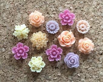 Flower Thumbtacks or Magnets Set of 12 - (#188) dorm decor, hostess gift, weddings, bridal shower, baby shower, gift, teacher gift