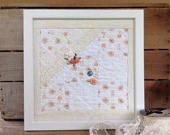 Peach quilt square, peach decor, cutter quilt, peach nursery, 1940's quilt, peach and tan, old quilt piece, shabby cottage chic, quilt art