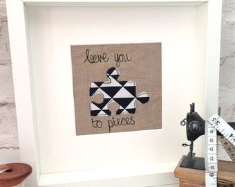Freehand embroidered love you to pieces frame