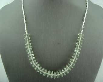 Faceted Green Amethyst Prasiolite 925 Sterling Silver Necklace