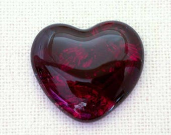 31x35mm Fused Dichroic Glass Cabochons - Burning Embers Red Color - A436
