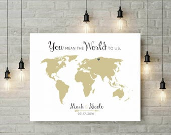 Alternative Wedding Guest Book | Canvas Guest Book | World Map Travel Themed Guestbook | World Map Art | 25th Anniversary Gift - 47577