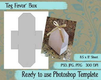 "Digital Template: ""Gift Tag Favor Box"" DIY Digital Tulip Favor Box Photoshop Template Party Favor Crafting Supplies"