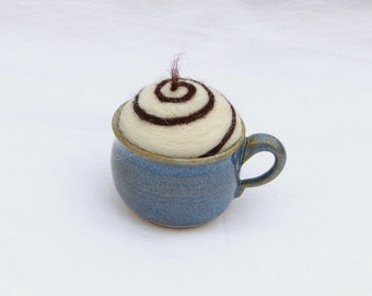 Needle Felted Pin Cushion with Hand Made Ceramic Tea Cup