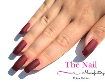 Matte Burgundy Red Fake Nails - Handpainted Nails - French Style Nail Set in Matte Burgundy with Glossy Tips - False Nails - Square Shape
