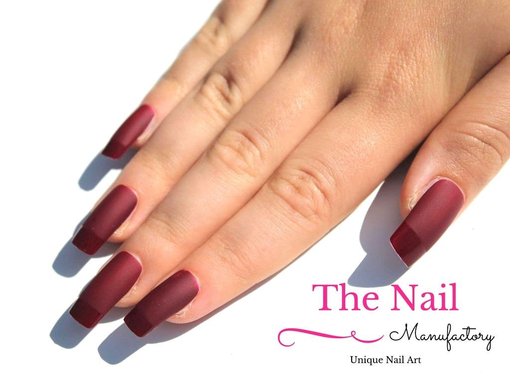 Matte Burgundy Red Fake Nails Handpainted Nails French
