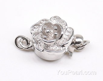 925 sterling silver flower clasp, single strand clasp, push-in pearl clasp, necklace clasp, fashion jewelry findings, 9mm, CS1010