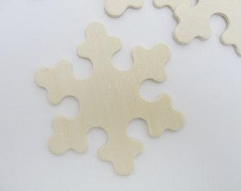 """Wooden snowflake large DIY 3"""" set of 5"""