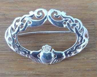 925 Silver Celtic Design Claddagh Brooch