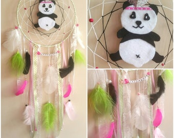 -DreamCatcher panda lime, pink and white tones