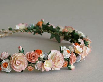 Peach Flower Crown - Paper flower headpiece - Made of mulberry paper and natural twine