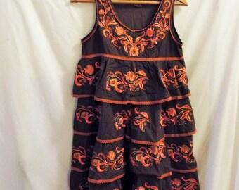 Vintage Thai Embroidered Tiered Ruffle Boho Dress Brown Orange Floral Sundress