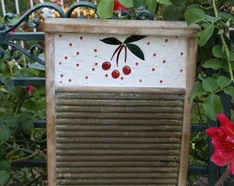 Vintage Primitive Cherries Mosaic Wash Board