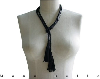 Tassel Necklace Braided Leather Rope Necklace, Minimalist Leather Necklace Boho Necklace Braided Rein Lariat, Black Leather , made to order