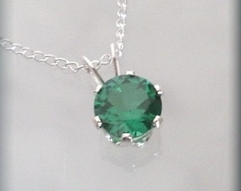 May Birthstone Necklace, Sterling Silver, Emerald Pendant, May Birthday Gift, May Birthstone Necklace, Gift for Her