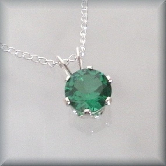 May birthstone necklace sterling silver emerald pendant may aloadofball Images