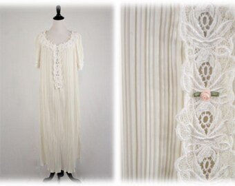1980s Fortuny Pleated Long Nightgown Lace and Rosebuds