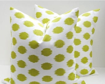 15% Off Sale Lime Green Pillow Set 18x18  inch Decorator Pillow Cover Decorative Throw Pillows Ikat Pillow Cover Printed fabric both sides
