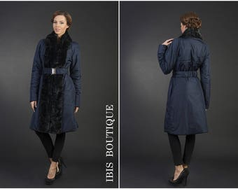 Blue woman winter jacket, elegnat woman coat, plus sizes / large sizes, stylish feminine warm jacket / coat, long water resistant coat,