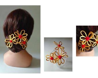 spade hair flower, wedding hat, fascinator, orange bun, wedding hair pin
