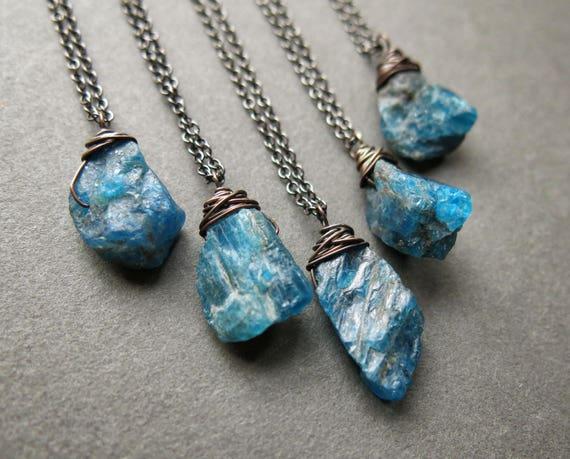 Raw apatite necklace raw gemstone necklace raw stone mozeypictures Gallery