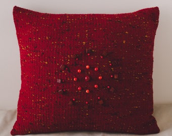Throw decorative pillow down leather beads mandala sofa art handmade red usa