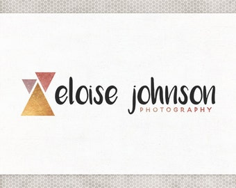 Premade Logo Design   Photography Logo   Business Branding   Blog Header   Black and Gold   Metallic Triangles   Pink and Purple