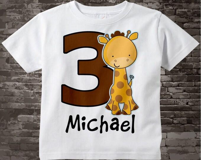 Personalized Third Birthday Giraffe Tee Shirt, 3rd Birthday Giraffe tee, Safari Theme 02062014b