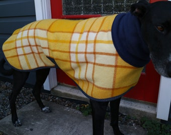 plaid checks in mustard yellows...winter coat for a greyhound in vintage wool blanket and fleece