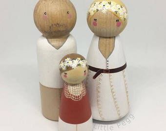 Custom Peg Doll Family of 3 // 2 Adults, 1 Child/Pet