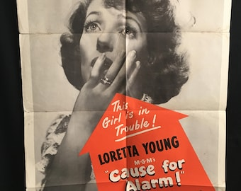 Original 1950 Cause For Alarm One Sheet Movie Poster Loretta Young