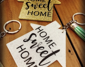 Home Sweet Home Acrylic Glitter Sparkly Keychains With Tassel
